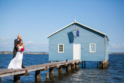 wedding blue boathouse