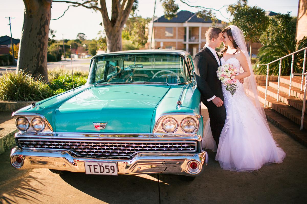 Vintage Car Perth Church Wedding